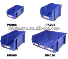 Plastic stack and hang storage bin