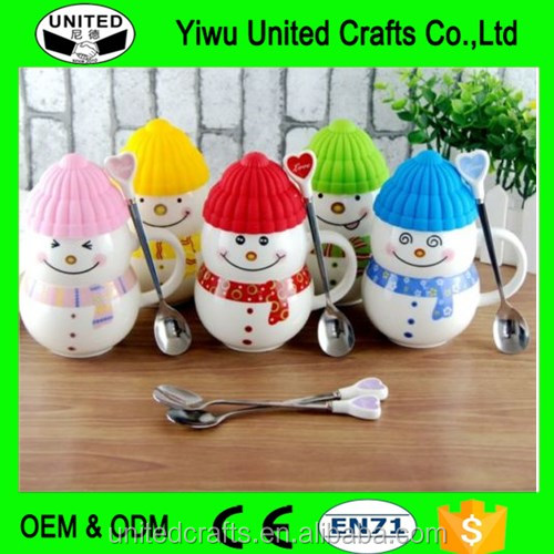 Cute Creative Snowman Ceramic Cup Tea Milk Coffee Mug with Spoon & Lid