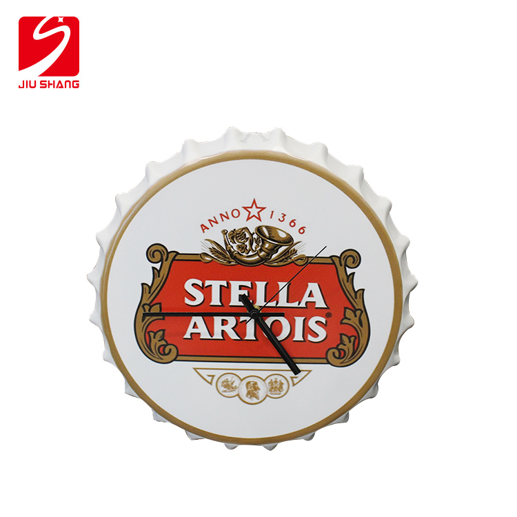Promotional bar decoration round tinplate wall clock with diy printing