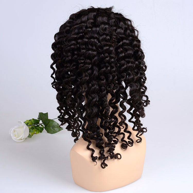 Double leaf wig deep wave curly natural black hair wig human hair full lace wig