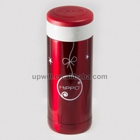 Customized Hippo Unique Transparent Red SS304 330ML Vacuum Coffee Mug