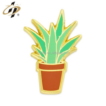 China lapel pin manufacturer custom Aloe Plant Pin with enamel