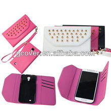 Hot selling stud wallet case for Samsung Galaxy S4, punk studs case for galaxy s4