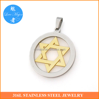 Gold plated two tone stainless steel star of David pendant of fashion jewelry