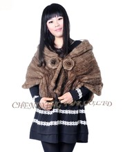 CX-B-M-01B Latest Design Shawl Genuine Mink Fur Knitted Stoles And Shawls
