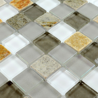 Wall and Floor Glossy and Matt Square Glass Mix Stone Mosaic
