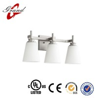 UL& CUL Listed Brushed Nickel 3 Lights Hotel Bathroom Vanity Lights With opal Glass Shades