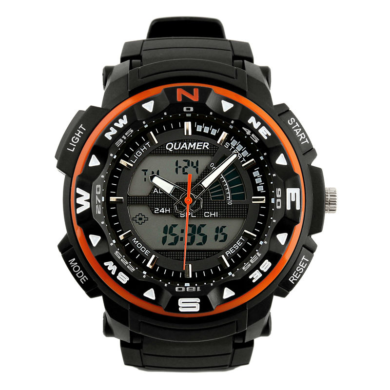 Men's Rubber Strap Orange Analog Digital Dual Sport Watch WS083