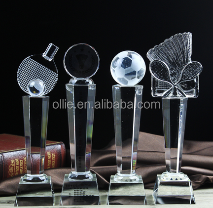 high quality team sport gifts crystal trophy