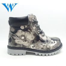 Fashion style colorful printed casual kids boots pretty fancy hot popular flat soft colorful printed casual kids boots
