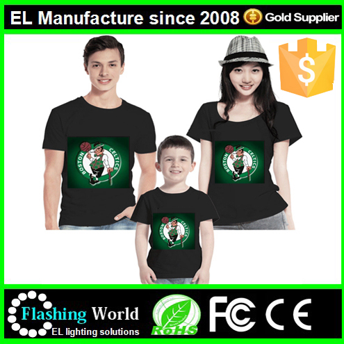 factory <strong>manufacture</strong> <strong>m</strong> dj shape led light el music t-shirt with safe certification
