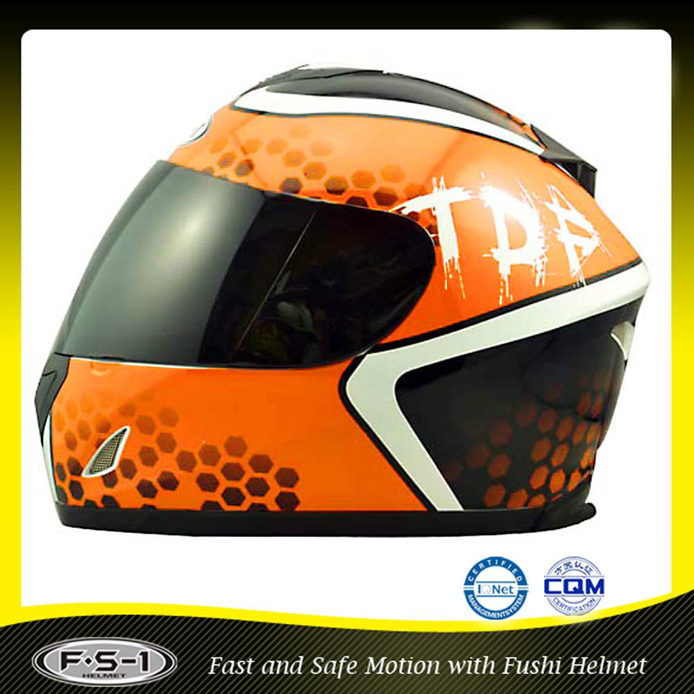 orange L size ABS shell DOT motocycle full face helmet
