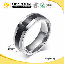 2016 High Quality Fashion Men Jewelry 8mm Width Black Carbon Fiber Steel Ring