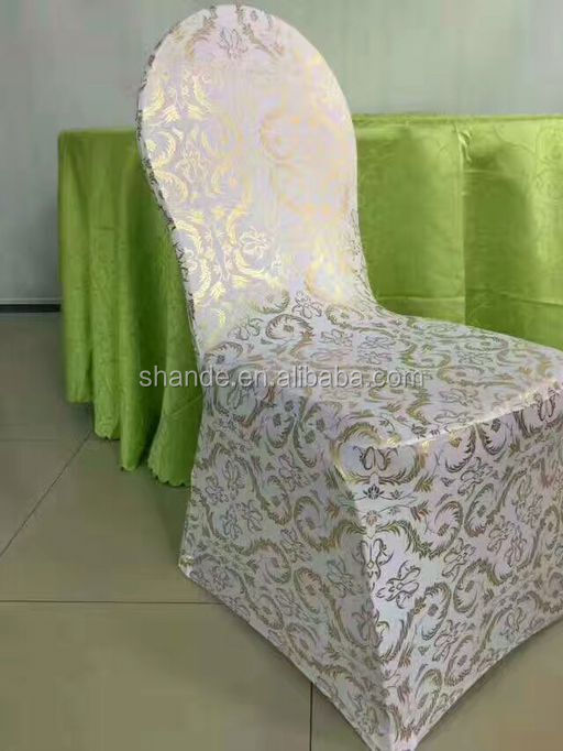 Bronzing Chair Cover Elastic Spandex Coverings Gold Printing Flower Chairs for Wedding Banquet