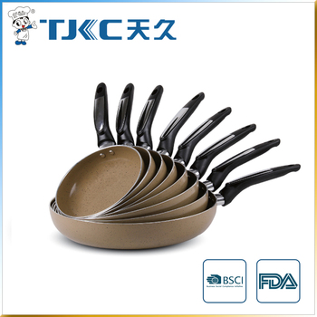 Marble Ceramic Fry Pan with New Style Handle