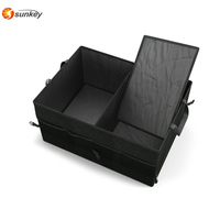 Black 2 in 1 Car Boot Organiser ,Shopping Tidy Heavy Duty Collapsible Foldable Car Organizer