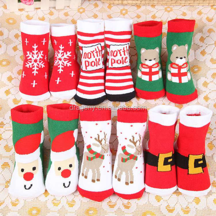 2017 holiday editions Children thickening keep warm unisex baby sock christmas gift kid sock