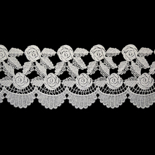 new fashion 3D polyester knitted lace for Dress Decoration 3 cm white lace trim