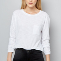 guangzhou garment women clothes front pocket white long sleeve t.shirt