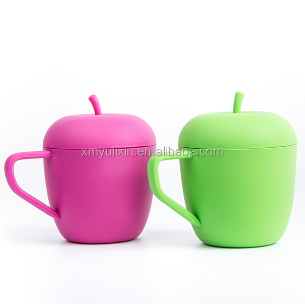 Unbreakable cute apple shape silicone drinking cup