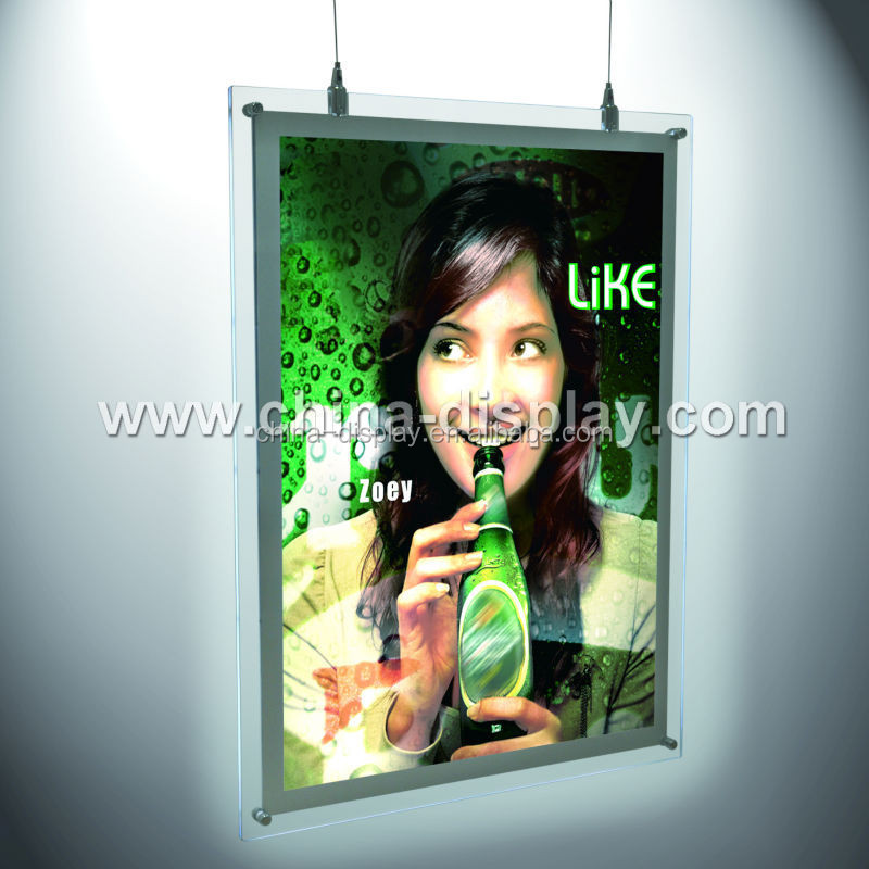 China customized poster frameless double sided indoor led lightbox