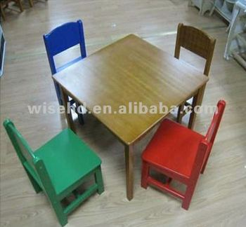 wooden colorful kids furniture set kids dining table and chairs W-G-1081