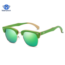 New Half Semi-rimless Polarized sunglasses Women men italian eyewear Wooden Sun Glasses Fashion green frames Gafas Oculos De Sol
