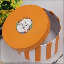 Orange Paper Cardboard Round Cylinder Packaging Gift Flower Box with Lids