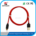 red type-c usb to usb 2.0A data transfer cable with nylon fabric