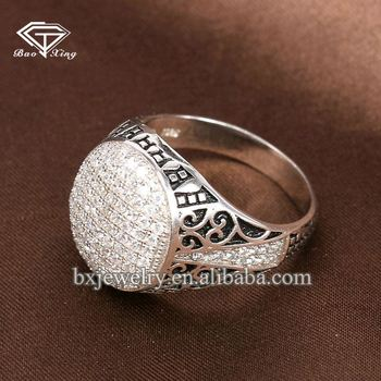 Wholesale fashion jewellery luxury 925 Sterling silver men hip hop ring