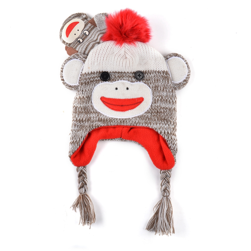 Hot Sale Animal Winter Knitted Baby Beanie Hat Cap with Earflap