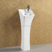Bathroom Ceramic Wash Hand Pedestal Basin With White Glazed Painting
