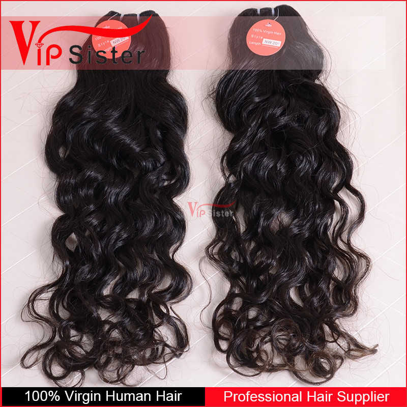 Guangzhou african fashion double drawn 2015 natural wave brazilian human hair sew in weave