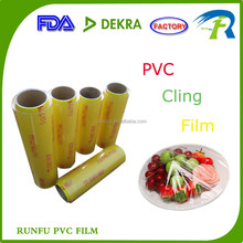 super clear durable good tensile prope soft transparent pvc cling film for fruit packing