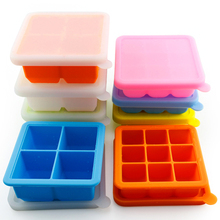 Colorful food grade ice cube tray with lid