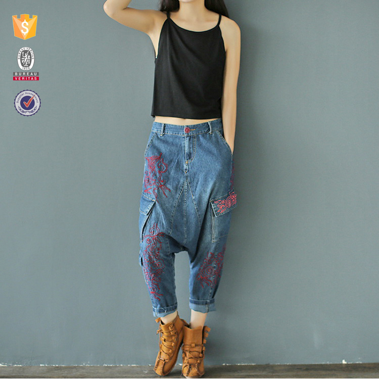 OEM customize high quality ladies jeans embroidery pocket design jeans trousers