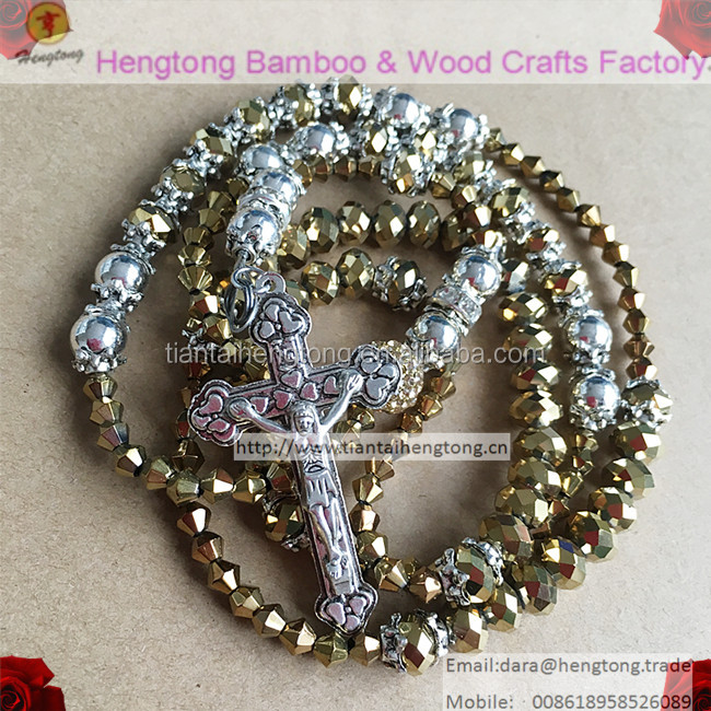 6*8mm golden or silver crystal rosary beads with 10mm rhinestone and 4mm becone bead in stock