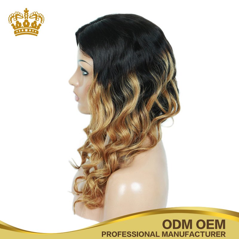 Ombre blonde body wave Peruvian human hair full lace wig with baby hair