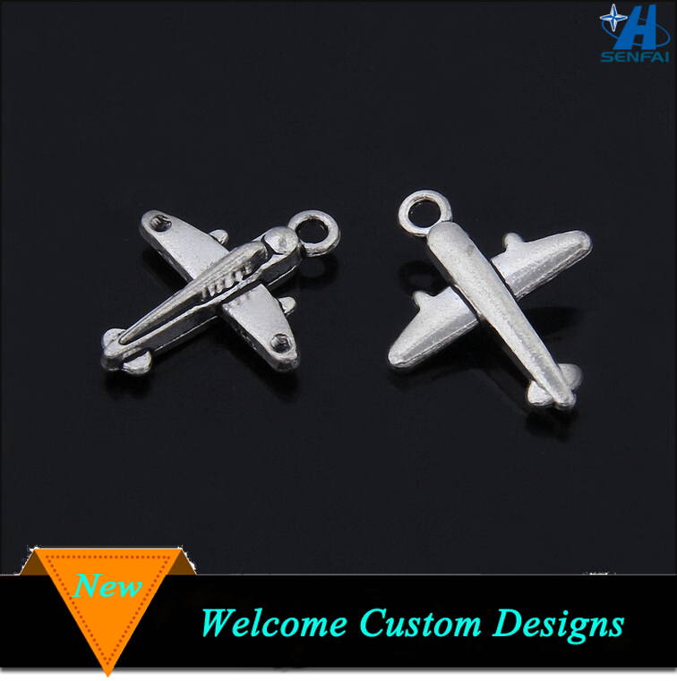 Imitation silver men style plane charm for jewelry new products airplane metal alloy charm