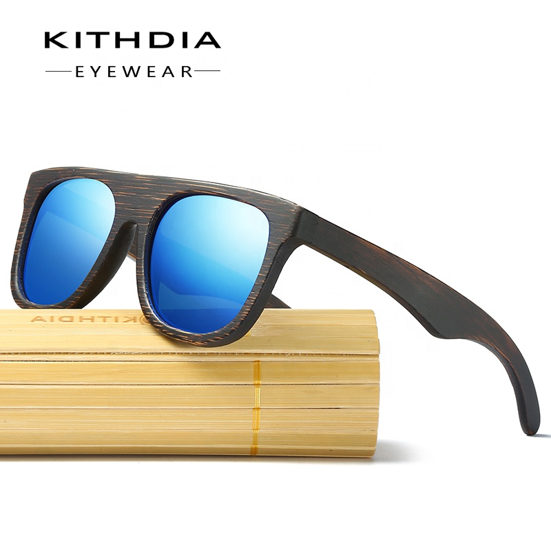 Kithdia Wood Sunglasses for Men &amp; Women Bamboo Frame Eyewear Polarized Sunglasses Vintage Design Shades UV400 Protection <strong>050</strong>