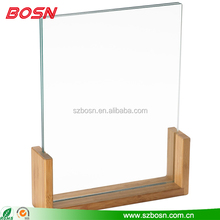 2015 new style acrylic photofunia photo, SGS approved Acrylic photo frame with wooden base, customized clear acrylic photo frame