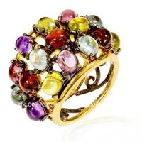 Gold and Black Rhodium Plated Sterling Silver Ring with Multiple Gemstones