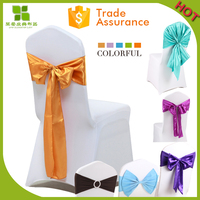 wedding banquet satin chair cover sashes chair bow ribbon for chair decoration