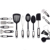 Cooking Utensils Set 21Piece Premium Tool and Gadget Set Stainless Steel And Nylon Turners, Tongs, Spatulas, Pizza Cutter,