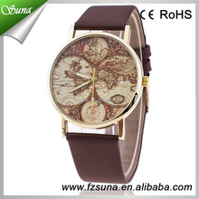 New Design Hot Pu Leather Low Price World Map Watch 2016