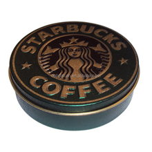 Coffee bean Round Metal Tin Boxes with Tray