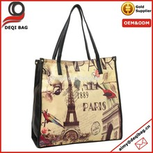 PU Hand Bag, Paris Eiffel Tower Hand Bag, Ladies Hand Bags
