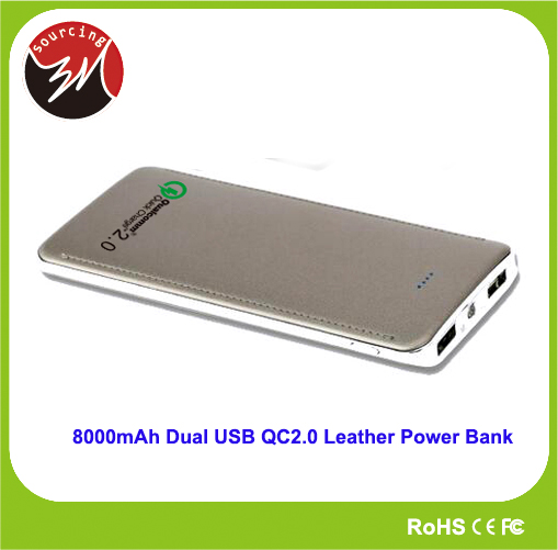 Innovative Dual USB LED 8000mAh Quick Charge QC2.0 Leather Universal Powerbank Charger for Mobile Phone