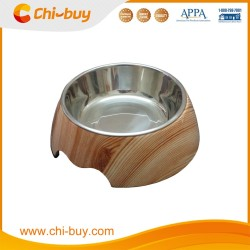 "Chi-buy Wood Grain Detachable Dual Melamine Pet Bowl antiskid Dog cat food water Bowl,M Size:5.12""LX6.89""WX2.36""H"