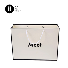Custom made promotional advertising usage white art paper bags for clothes